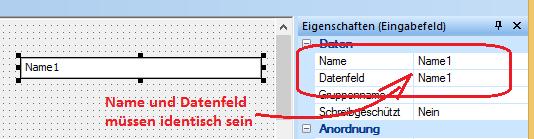 Name und Datenfeldbezeichnung identisch