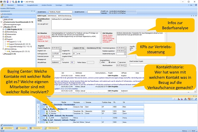 Screenshot Solution Selling - xRM AG-VIP SQL